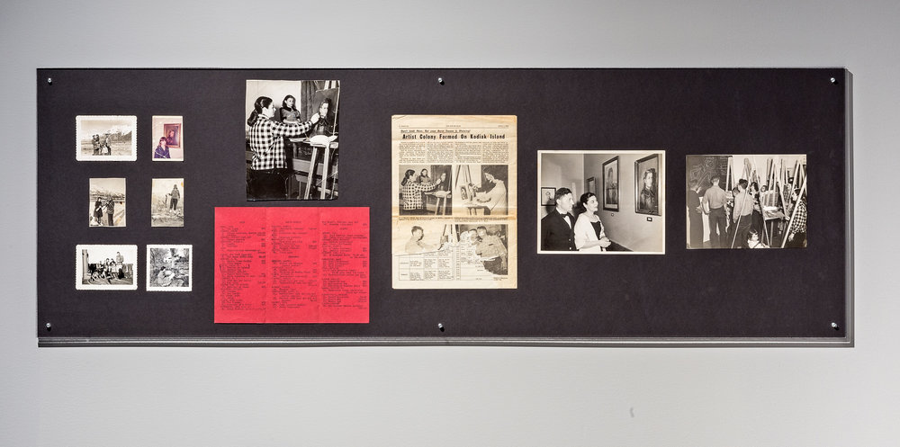 Three Generations (Kodiak Art Club, 1953) , 2014  Archival photographs, newspaper article, and exhibition brochure from Kodiak, Alaska, 1953. Installation view at Koffler Gallery, Toronto. Produced with the assistance of the Koffler Gallery. Photograph by Toni Hafkenscheid