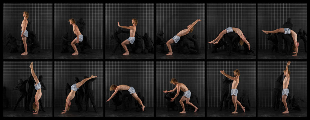"After Muybridge (Back Handspring 2)  2016, archival pigment print 46.5 x 119.5 cm (18.25"" x 47"")  93 x 239 cm (36.5"" x 94"") Editions of 2"