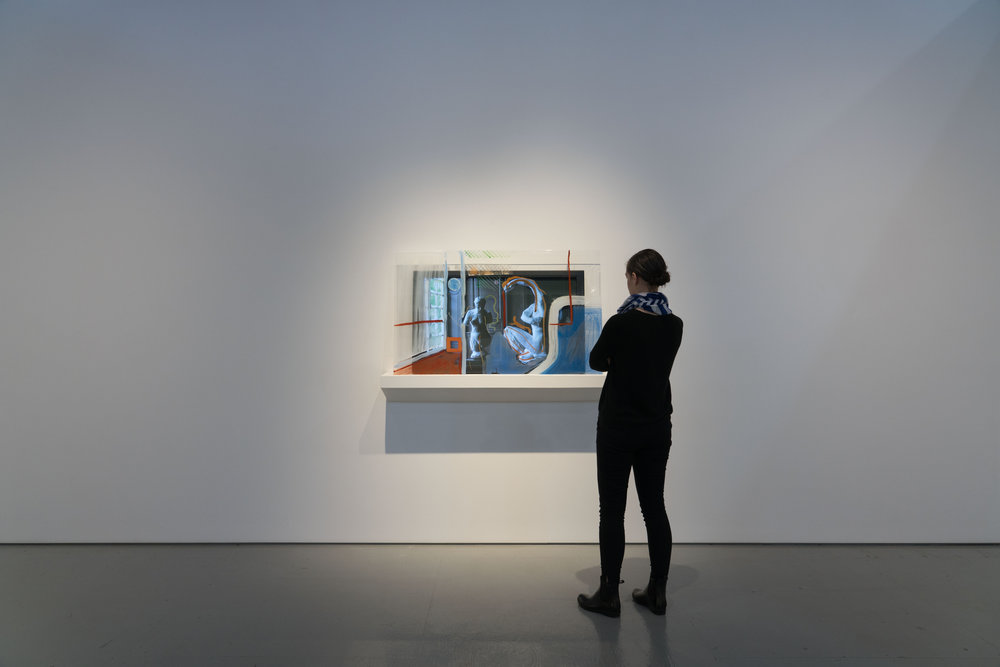 """Rodin Reworked 1  2018, 4k video, 6min 12s. 42"""" screen with 32"""" x 45"""" tempered fritted glass panel"""