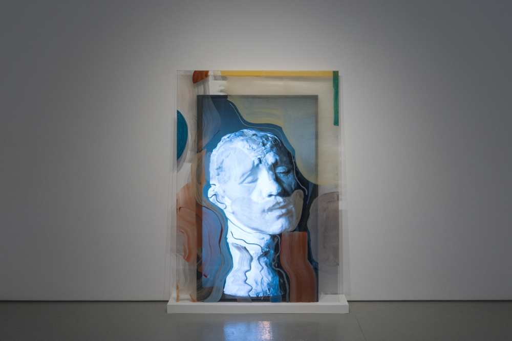 """Rodin Reworked 2  2018, 4k video, 5min 2s. 70"""" screen with 70"""" x 49"""" tempered fritted glass panel"""