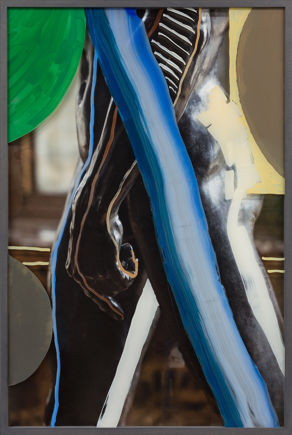 Untitled (Walking Man with blue stroke) 2018, hand-painted glass over archival pigment print 91.5 x 61 cm / 36 x 24 in. Unique work