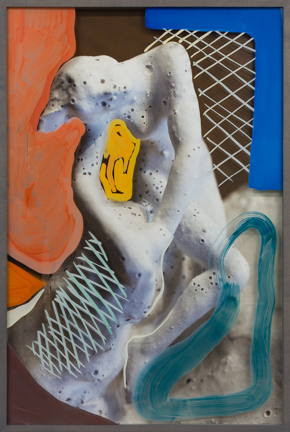 Untitled (Woman with bubbles) 2018, hand-painted glass over archival pigment print 91.5 x 61 cm / 36 x 24 in. Unique work