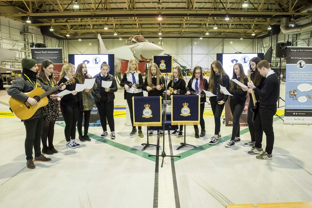 Lossiemouth High School Singing 'The Sky is the limit' with sotc artist in residence, Marty Longstaff, at raf Lossimouth