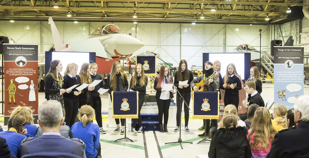 Lossiemouth High School performed their song at a Never Such Innocence roadshow hosted by RAF Lossiemouth