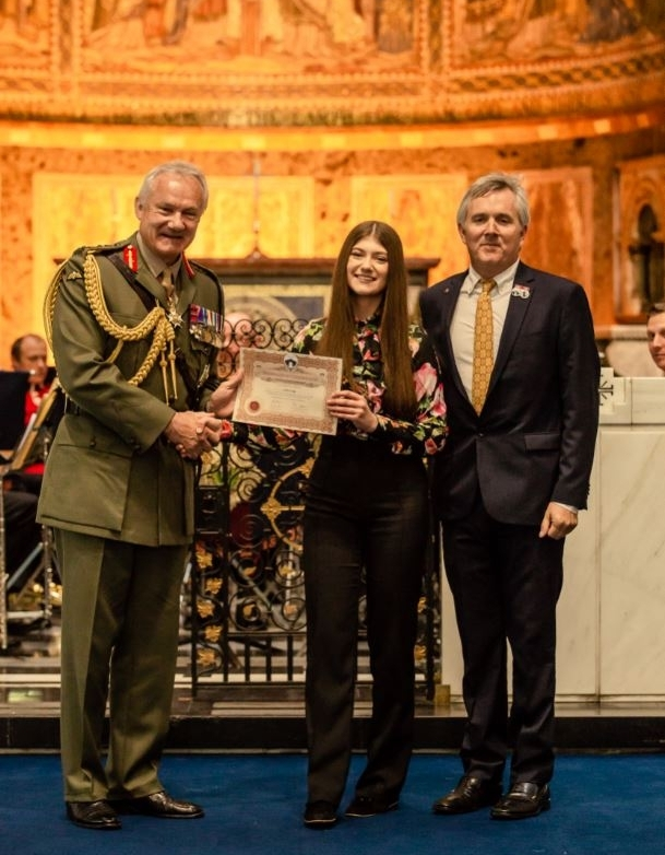Lydia accepted her certificate from General Sir Gordon Messenger, and Jono Hart of Dave Stewart Entertainment