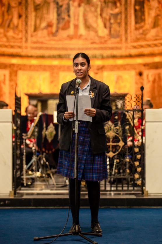 years 7-9 poetry Winner, Jasleen Singh, reads her poem 'The Indian Soldier'