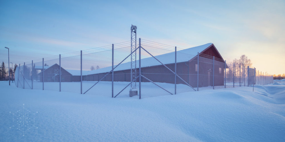 Outside Hydro 66 data centre in winter. cooled by CloudCooler