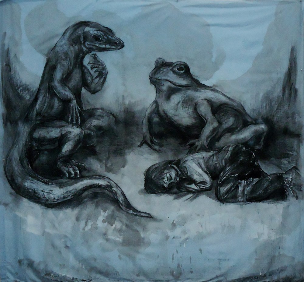 "Jasper's Dream. Charcoal, ink wash on bedsheet. 84"" x 96"""