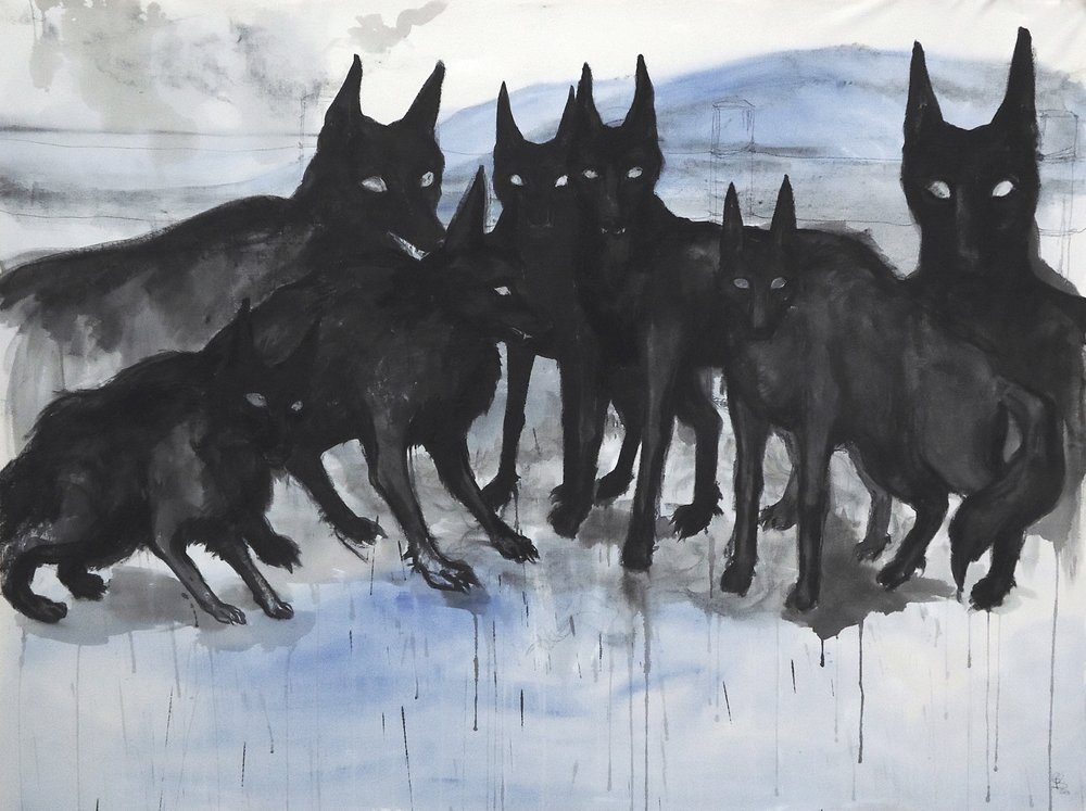 "Yellhounds. Ink, charcoal, acrylic. 59"" x 79"""