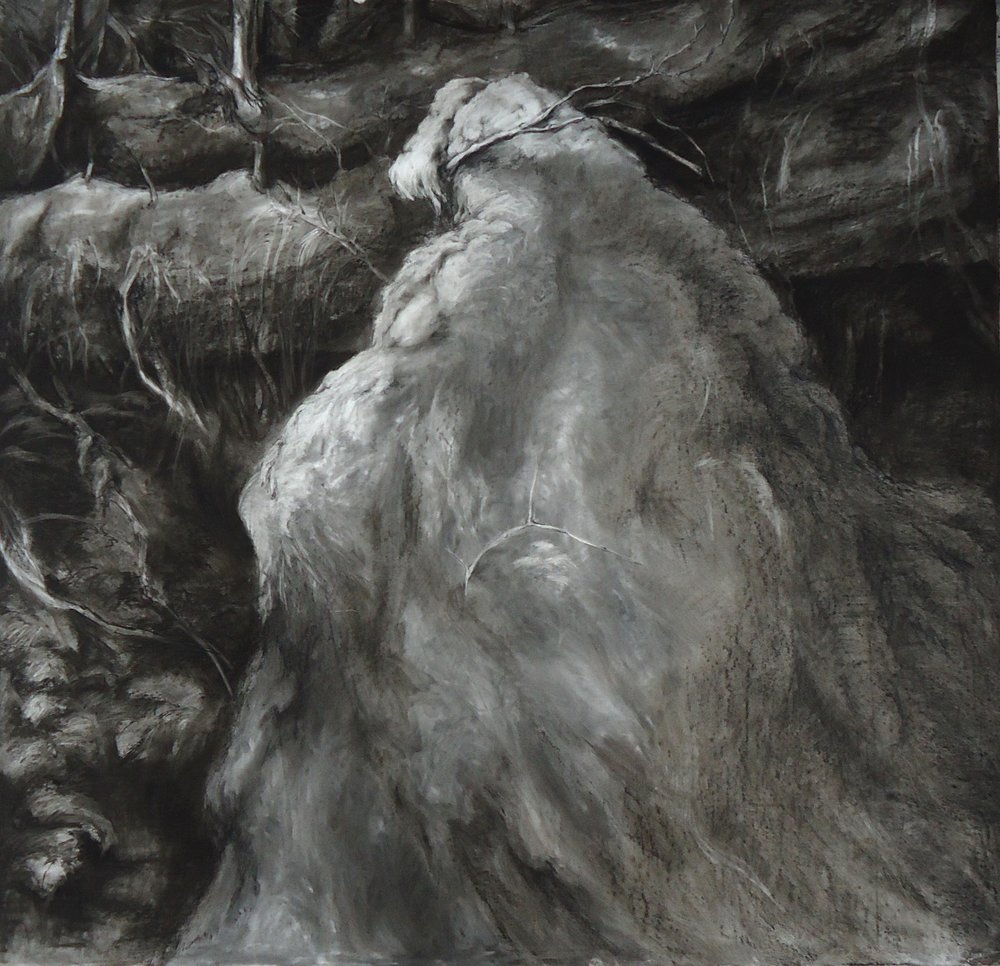 "The Moss. Willow, charcoal. 59 1/2"" x 63"""
