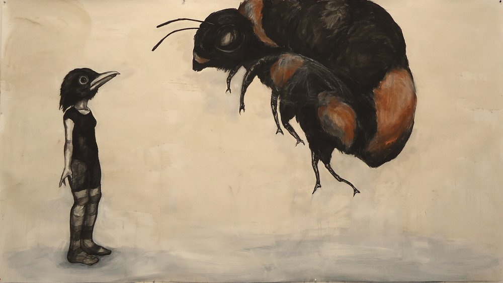 "Blackbird and Bumblebee. Charcoal, ink, conte. 55"" x 99"""