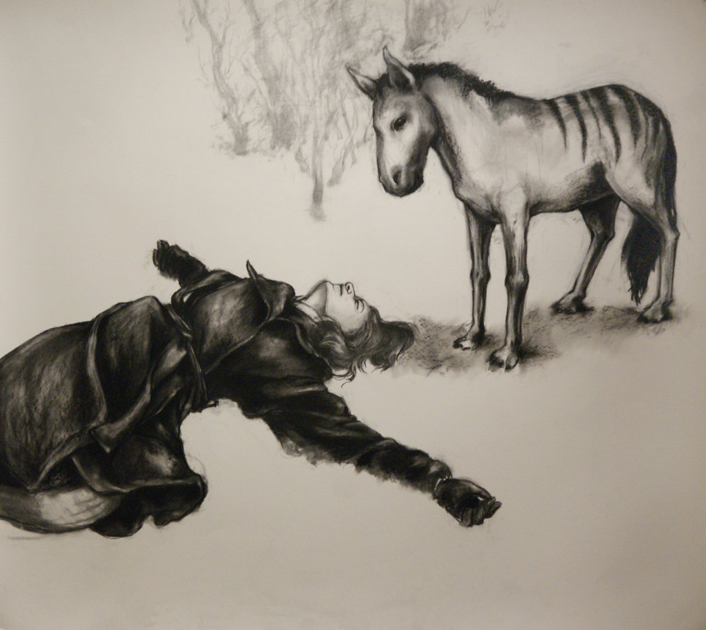 "In which I dream of prehistoric horses. Charcoal, conte. 42"" x 48"""