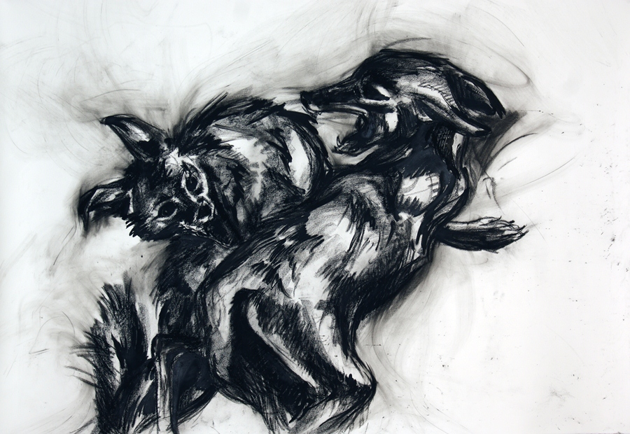 "Chaos and conflict: Jackals. 54"" x 68"""
