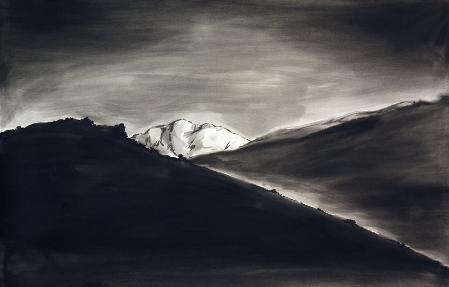 "Mountain meditation #4. Ink wash. 44"" x 55"""