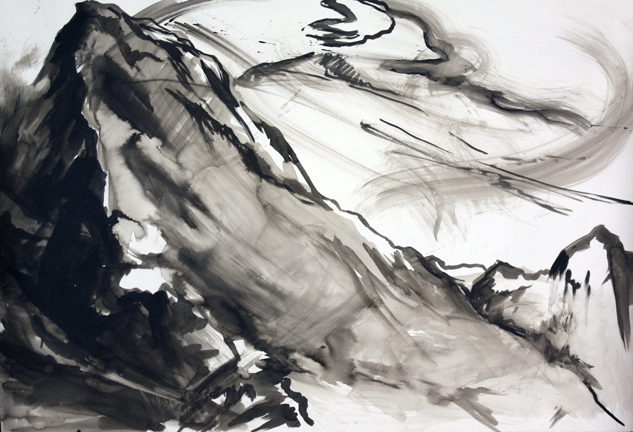 "Mountain meditation #7. Ink wash. 44"" x 55"""