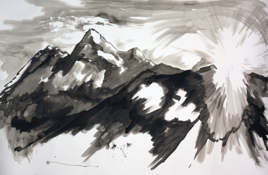 "Mountain meditation #3. Ink wash. 44"" x 55"""