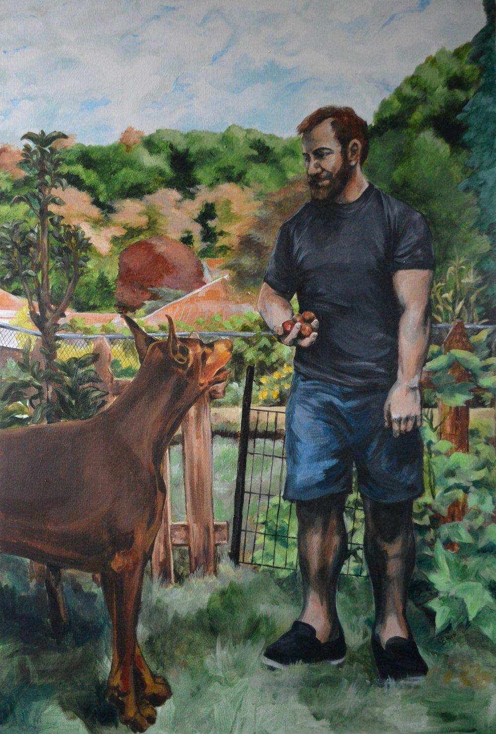 Mishka and Morgan in the garden. Acrylic. 6' x 4'
