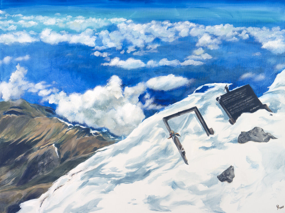 Summit Mt. Elbrus. Commission for S.F. Acrylic. 2' x 3'