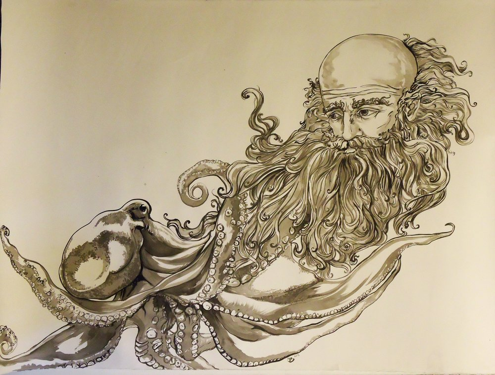Mr. Van Winkle was surprised to see an octopus in those parts of the Catskills. Ink on paper. 42.5 x 56""