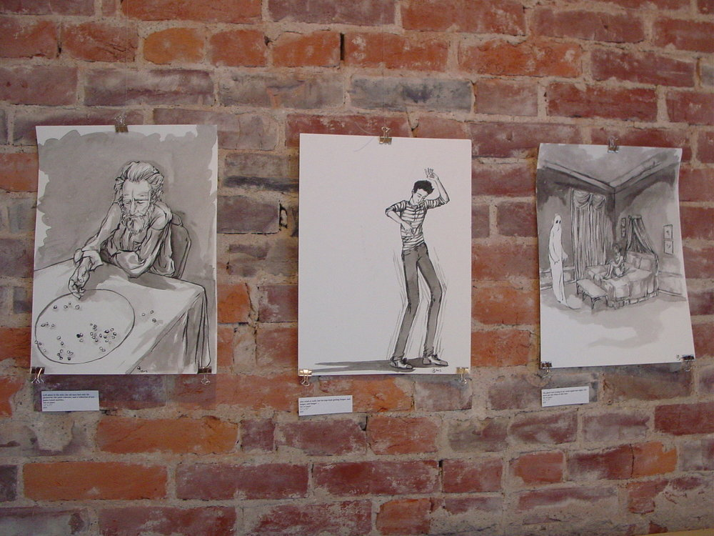 A selection of smaller images from the show series. Ink on paper.