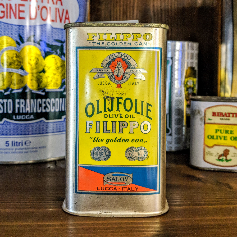 An old Filippo Berio can on display at their head office in Lucca, Italy