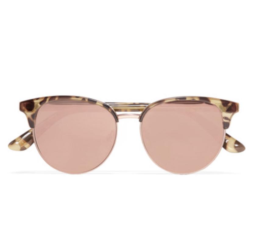 Lunettes de soleil œil-de-chat effet miroir en acétate et en métal couleur or rose Déjà Vu