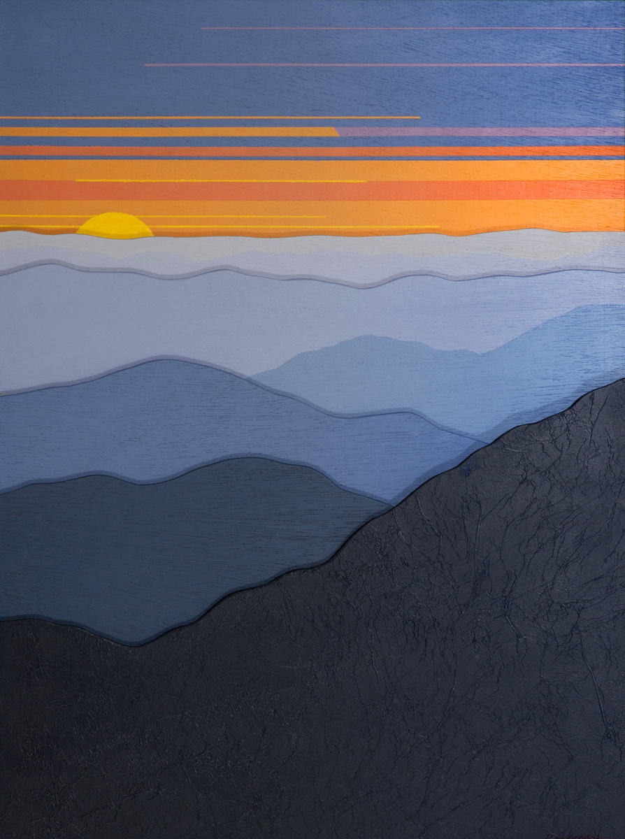 """""""MODERN BLUE RIDGE SUNSET 3D 102"""",  Acrylic on Layers of Wood,  18x24 inches,  $600 - SOLD"""