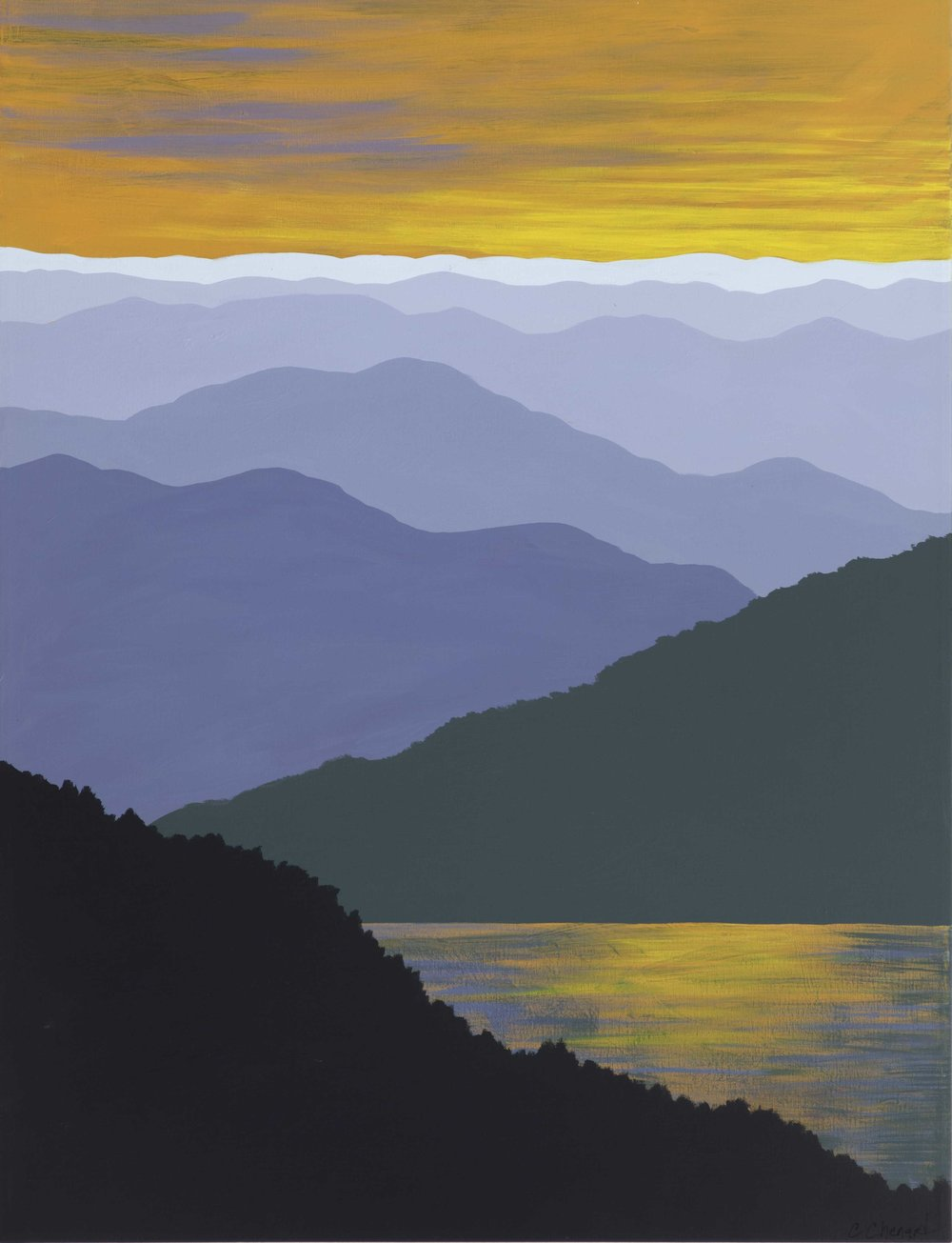 """""""SUNSET LAKE"""",  Acrylic on Canvas in black frame,  30x40 inches,  $1200."""