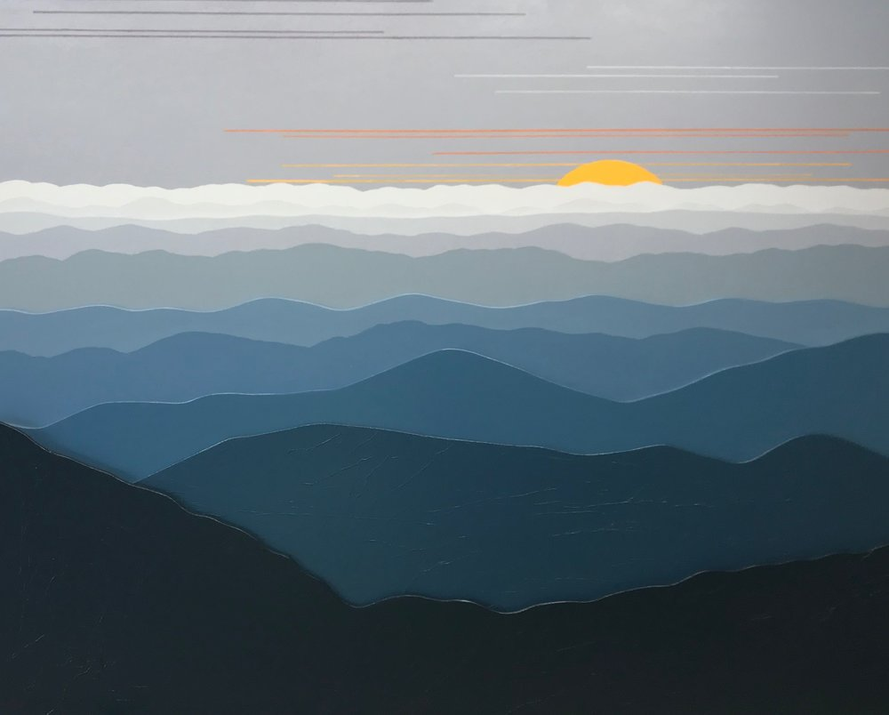 """""""MISTY MOUNTAIN MORNING 3D"""", Acrylic on Layered Wood, 30 x 24 inches, $850. - SOLD"""