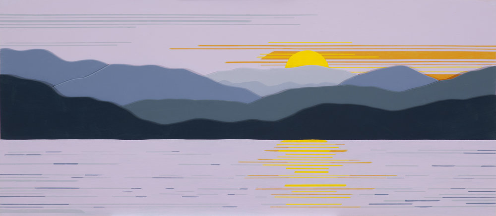 """""""LAKE JAMES SUNSET 3D"""", Acrylic on Layered Wood, 14 x 36 inches, $800."""