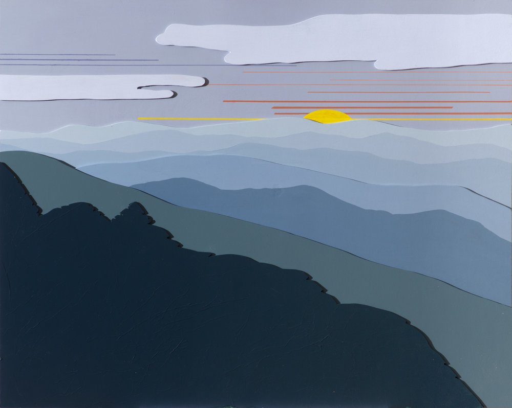 "BLUE RIDGE MORNING 3D"", Acrylic on Layered Wood, 30 x 24 inches, $850."