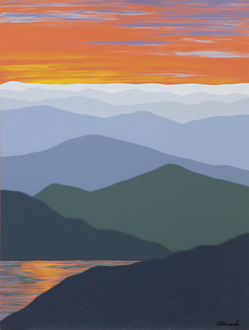 """""""Sunset Reflections 3D"""",  Acrylic on Layers of Wood,  18x24 inches,  $575. SOLD"""