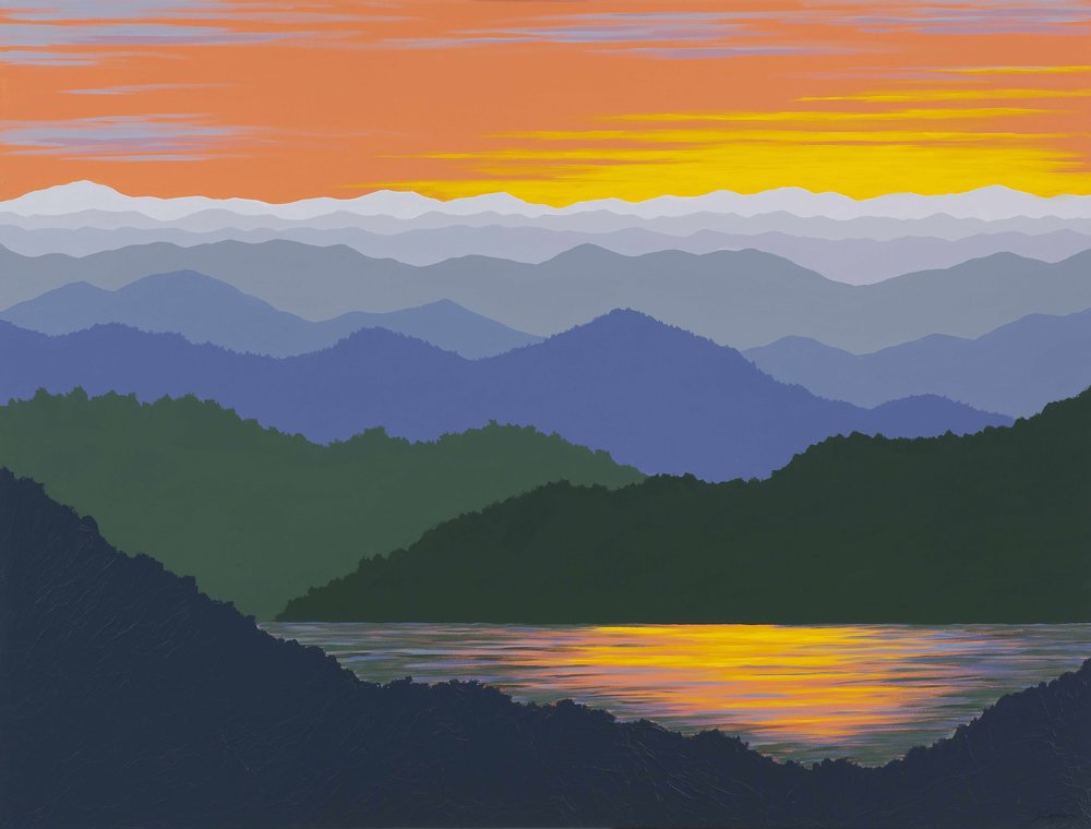 """""""MOUNTAIN SUNSET REFLECTIONS"""",  Acrylic on Canvas in black frame, 48x36 inches, $1800."""