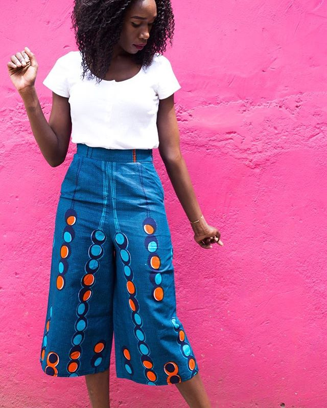 feeling like #pinkwalls and blue #culottes on a sunny friday afternoon🌸. Made and modeled by @tuzo_iscah💁🏾♀️ #ethicalfashion #handcraftedinkenya #habahaba #littlebylittle