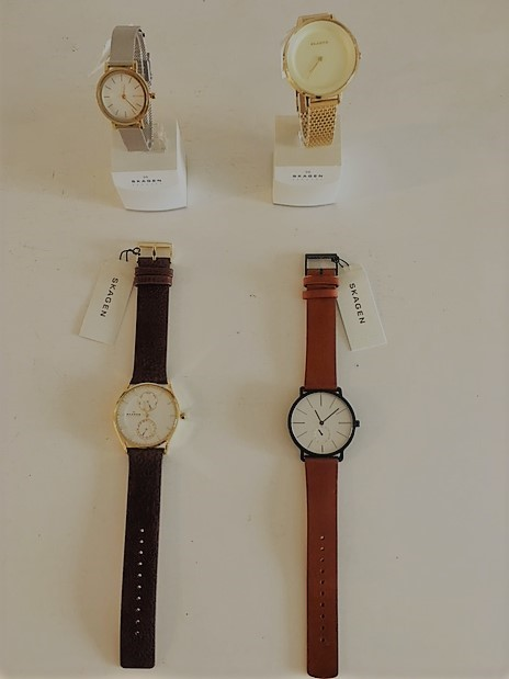 - SkagenWe carry many styles of men's and women's watches with leather, stainless steel and titanium mesh bands. All come with Skagen's limited lifetime warranty.