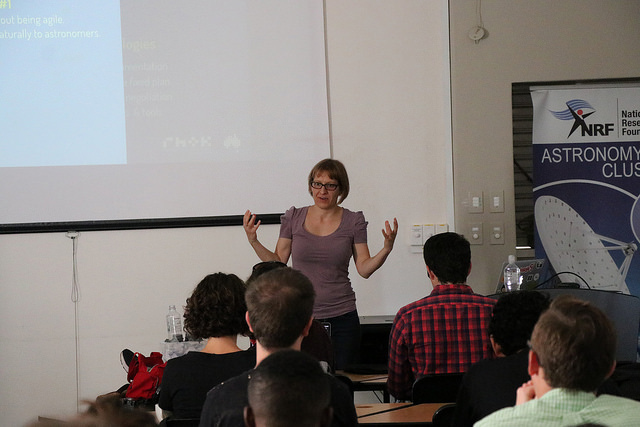 Arna Karick speaking at .Astronomy 9 (Image: Samir Durdhe