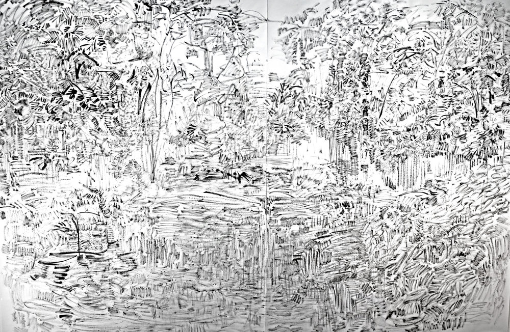 """The Hidden Dimension and Other Observations No. 135  , 2016; ink on paper; 80"""" x 120""""."""