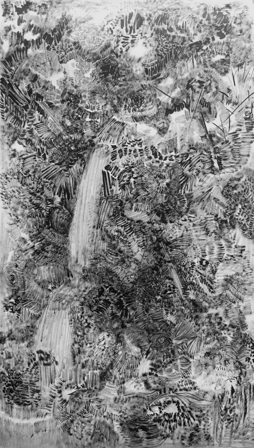 The Hidden Dimension and Other Observations No. 155  , 2017; ink on paper; 48 x 36 in.