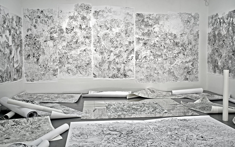 (From left to right)   I.The Hidden Dimension and Other observations No.112 (left wall), Ink on paper, 7x8 feet   II.The Hidden Dimension and Other observations No.156  (left two panel on the front wall), Ink on paper, 8x8 feet   III.The Hidden Dimension and Other observations No.157  (Middle one panel on the front wall), Ink on paper, 5x8 feet   IV.The Hidden Dimension and Other observations No.150  (right two panel on the front wall), Ink on paper, 8x8 feet   V.The Hidden Dimension and Other observations No.102  ( the right wall), Ink on paper, 7x8 feet