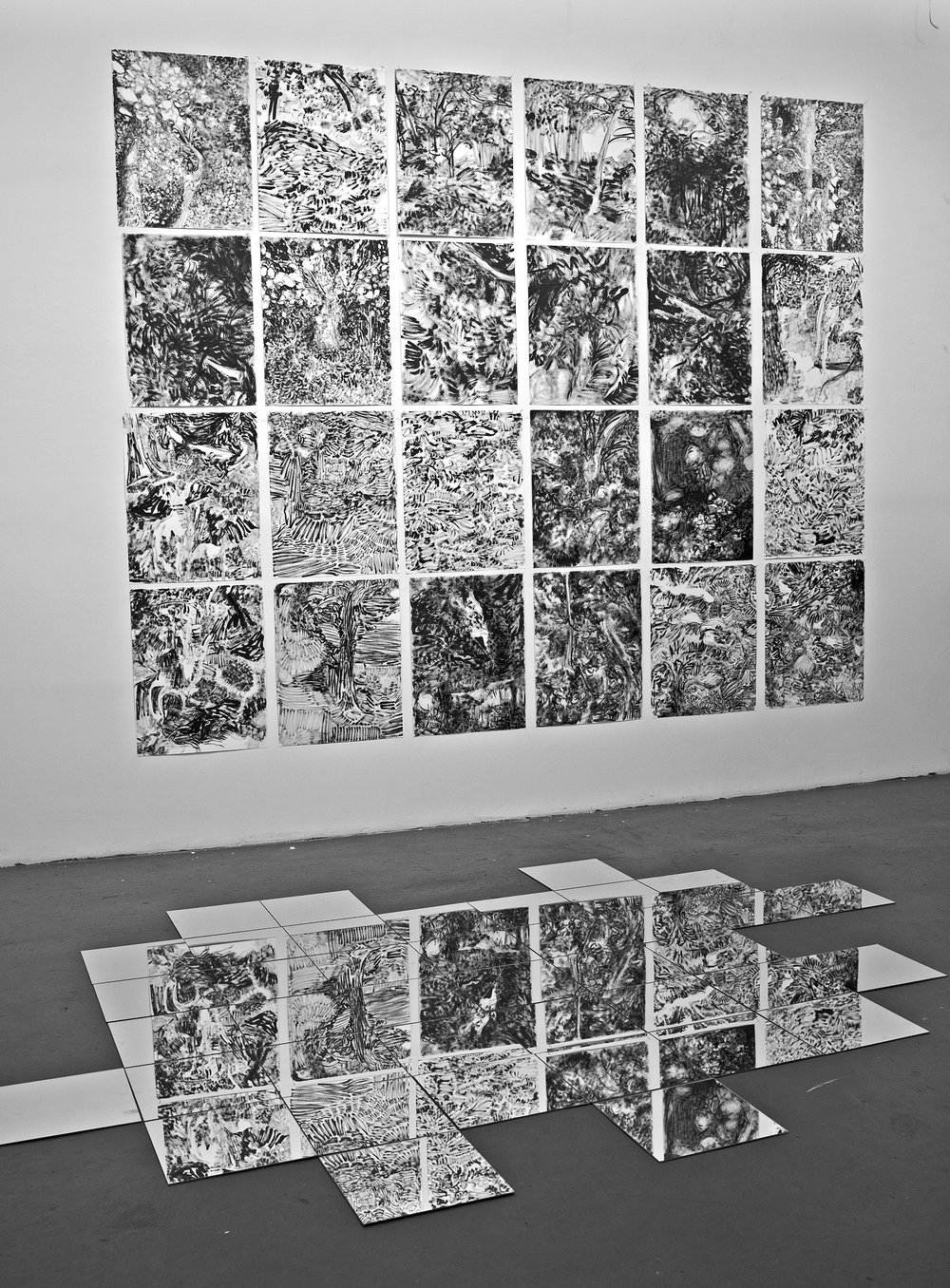 The Hidden Dimension and Other observations No.107,  Ink on paper, 24 pieces of 24x18 inches