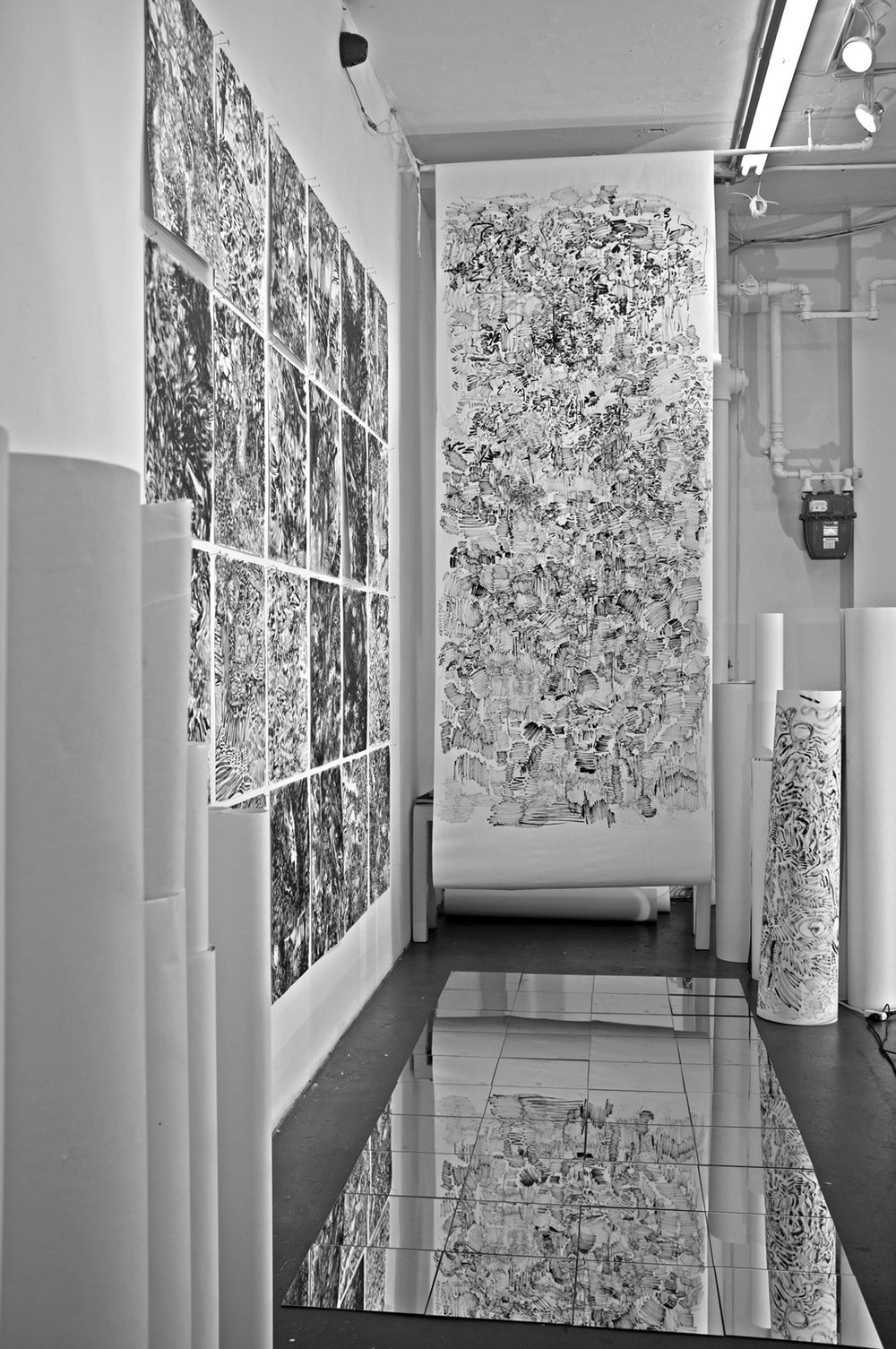 "The Hidden Dimension and Other observations No.109, 2016, Ink on paper, 48""x115"""