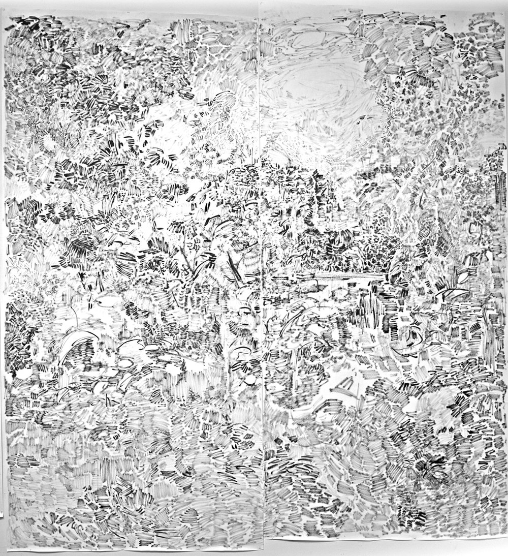 """The Hidden Dimension and Other Observations No. 150  , 2016-2017; ink on paper; 96""""x100"""""""