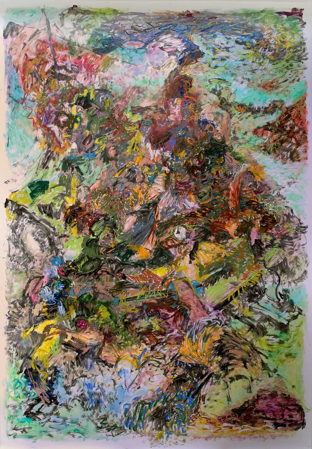 """Salto Mortale  2018, Oil Pastel and Acrylic on Yupo Paper, 60"""" x 86""""  """"Salto Mortale"""" means a dangerous and daring jump with possibly lethal outcome. It reflects my feeling while painting the chaos -- like walking the tightrope between visual dynamics and pandemonium. It also records my summer experience in a residency in Norway where I jumped into the deep cold sea to learn how to swim."""