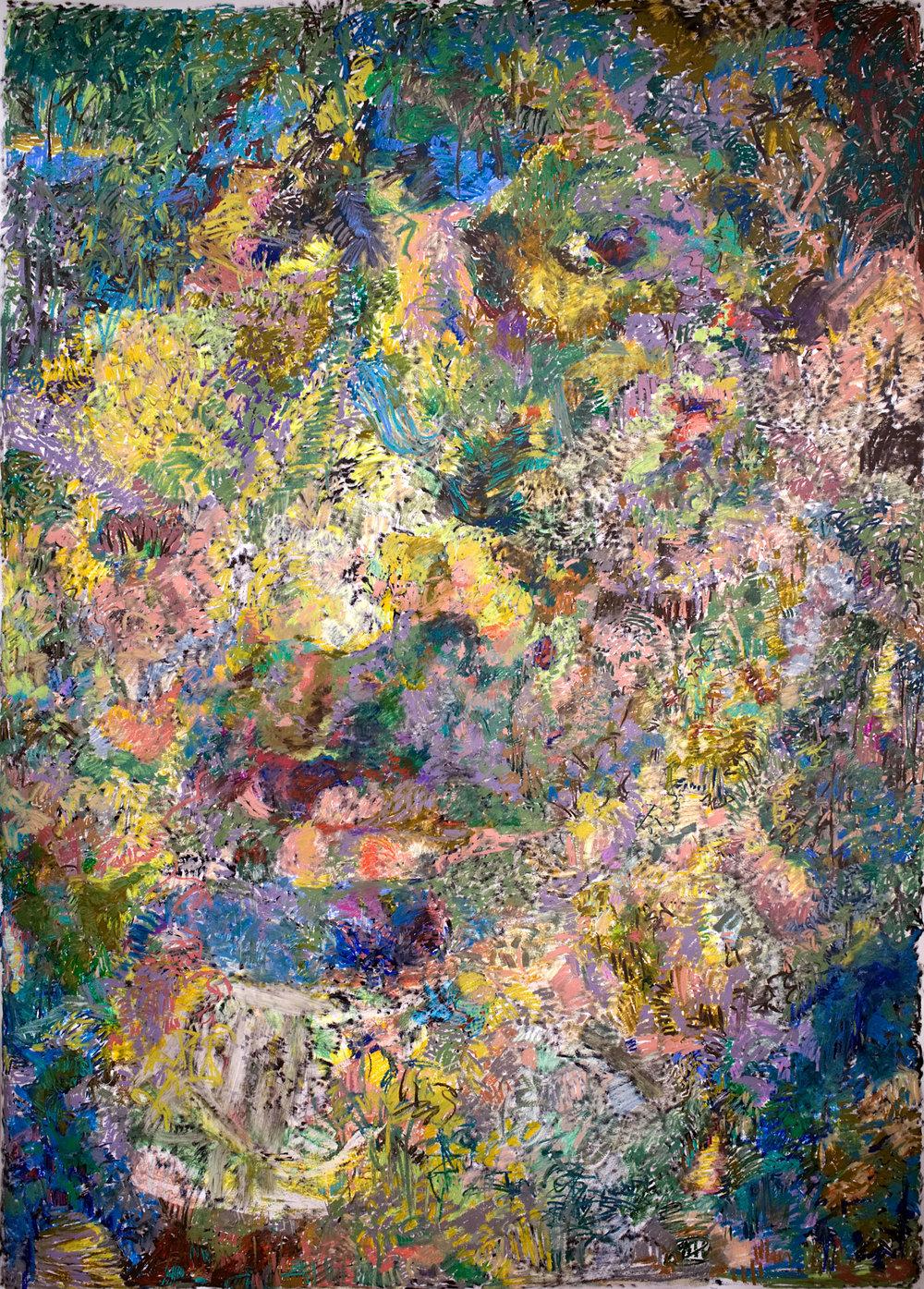 """Connoisseur of Chaos""  2017-2018, Oil Pastel and Acrylic on Yupo Paper, 60"" x 86""   A self-portrait landscape"