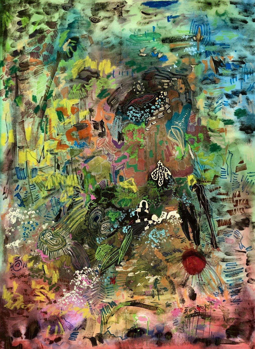 "For a breath I tarry; Oil Pastel and Acrylic on Evolon; 20""x30""; 2019"