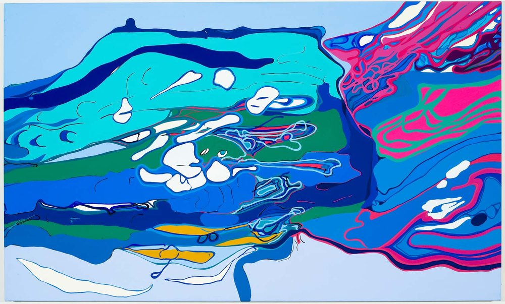 palatial ignition B , tbd acrylic on canvas 30 x 51 inches