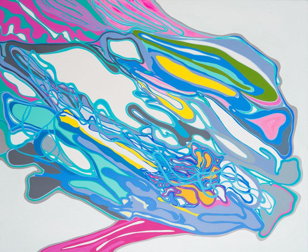 apres flash , 2017 acrylic on canvas 50 x 42 inches