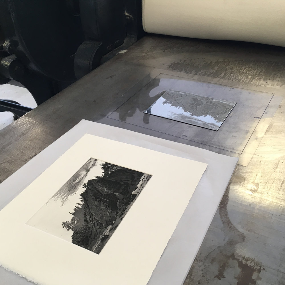 I editioned  Towards the Forest  on one of the lovely Rochat etching presses at Thames-Side Print Studio. Here you can see the metal plate sitting on the plastic template I made so I can get the paper straight, and the fresh print I've just lifted off it.