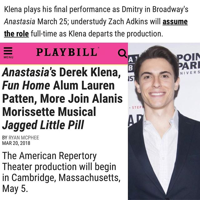 ‪Full casting announced! We can't wait to see this show's journey onwards! Congrats to @AnastasiaBway's @DerekKlena! ‪ • •http://www.playbill.com/article/anastasias-derek-klena-fun-home-alum-lauren-patten-more-join-alanis-morissette-musical-jagged-little-pill‬