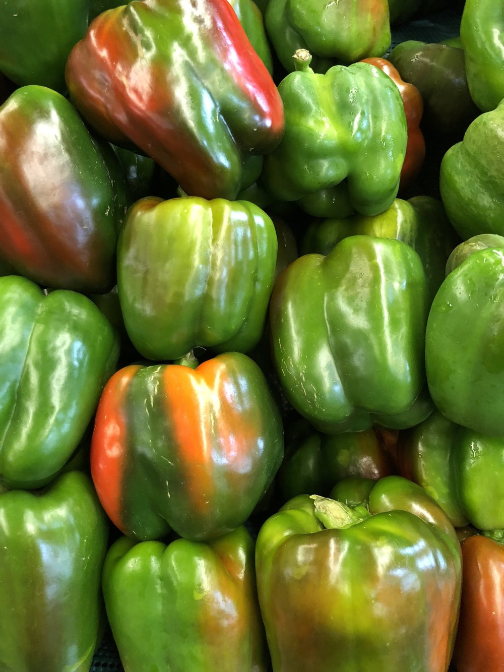 Locally-grown green peppers